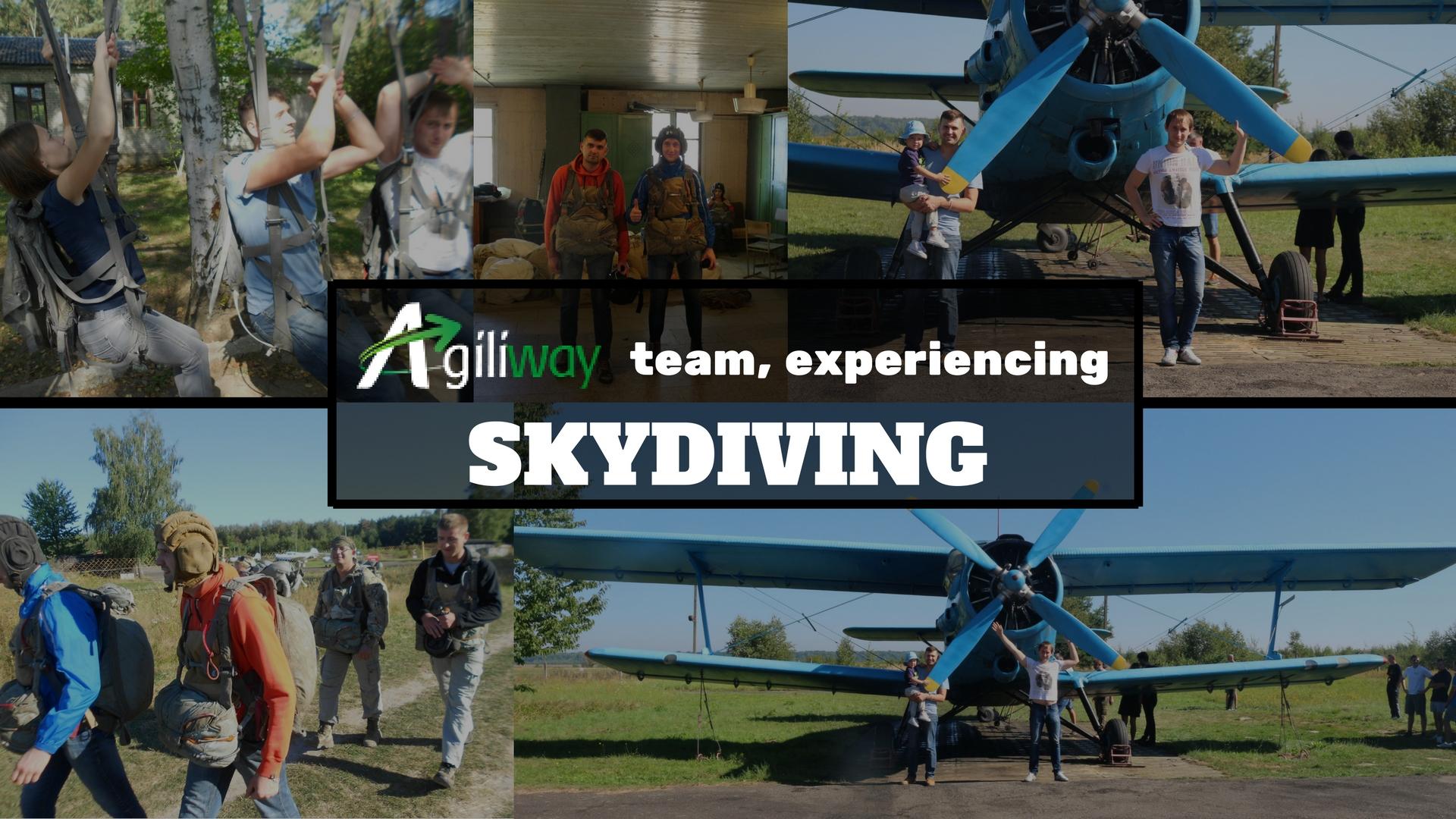 Agiliway team experiencing Skydiving